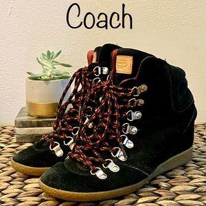 Coach - Black Suede Tie Up Boots Size 6M